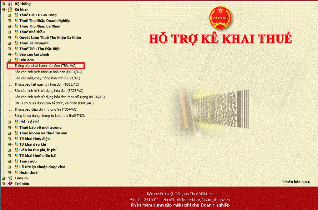 Truy cập trang hỗ trợ kê khai thuế để lập thông báo phát hành hóa đơn điện tử