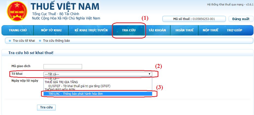 Thông báo phát hành hóa đơn điện tử và Hóa đơn điện tử mẫu) đính kèm